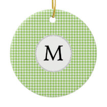 Personalized Monogram Green Houndstooth Pattern Ceramic Ornament