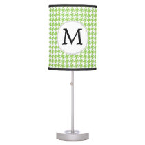 Personalized Monogram Green Houndstooth Pattern Desk Lamp