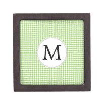 Personalized Monogram Green Houndstooth Pattern Gift Box