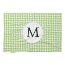 Personalized Monogram Green Houndstooth Pattern Hand Towels