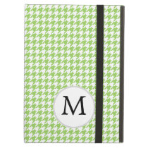 Personalized Monogram Green Houndstooth Pattern iPad Air Cases