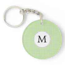 Personalized Monogram Green Houndstooth Pattern Keychain