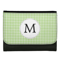 Personalized Monogram Green Houndstooth Pattern Leather Wallet For Women
