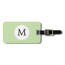 Personalized Monogram Green Houndstooth Pattern Luggage Tag