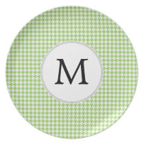 Personalized Monogram Green Houndstooth Pattern Melamine Plate