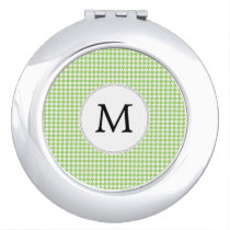 Personalized Monogram Green Houndstooth Pattern Mirror For Makeup