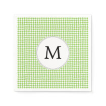 Personalized Monogram Green Houndstooth Pattern Napkin