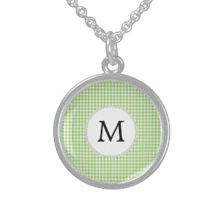 Personalized Monogram Green Houndstooth Pattern Custom Necklace