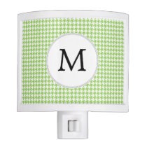 Personalized Monogram Green Houndstooth Pattern Night Light