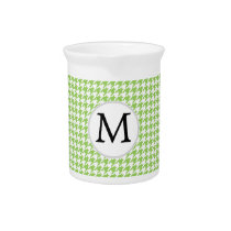 Personalized Monogram Green Houndstooth Pattern Pitcher