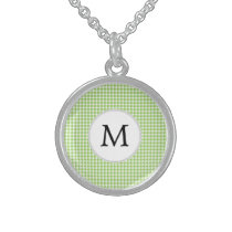 Personalized Monogram Green Houndstooth Pattern Sterling Silver Necklace