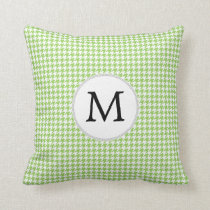 Personalized Monogram Green Houndstooth Pattern Throw Pillow