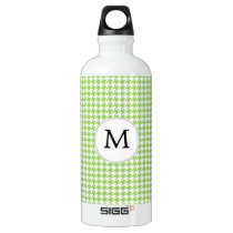 Personalized Monogram Green Houndstooth Pattern Water Bottle