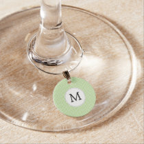 Personalized Monogram Green Houndstooth Pattern Wine Glass Charm