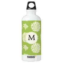 Personalized Monogram Green Ivory Floral Pattern Aluminum Water Bottle