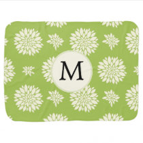 Personalized Monogram Green Ivory Floral Pattern Baby Blanket
