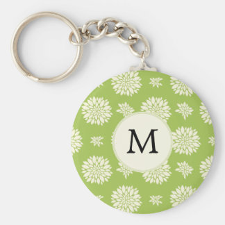 Personalized Monogram Green Ivory Floral Pattern Basic Round Button Keychain