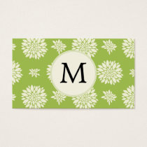 Personalized Monogram Green Ivory Floral Pattern Business Card