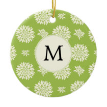 Personalized Monogram Green Ivory Floral Pattern Ceramic Ornament