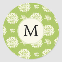 Personalized Monogram Green Ivory Floral Pattern Classic Round Sticker
