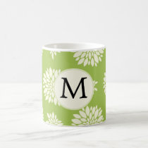 Personalized Monogram Green Ivory Floral Pattern Coffee Mug