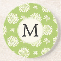 Personalized Monogram Green Ivory Floral Pattern Drink Coaster