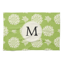 Personalized Monogram Green Ivory Floral Pattern Hand Towels
