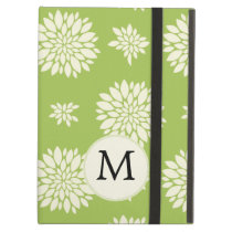 Personalized Monogram Green Ivory Floral Pattern iPad Air Cover