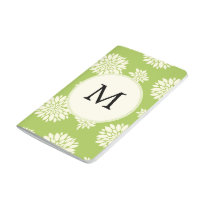 Personalized Monogram Green Ivory Floral Pattern Journal