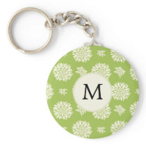 Personalized Monogram Green Ivory Floral Pattern Keychain
