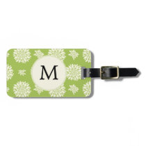 Personalized Monogram Green Ivory Floral Pattern Luggage Tag