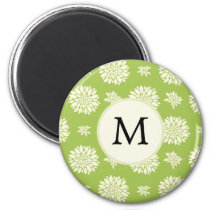 Personalized Monogram Green Ivory Floral Pattern Magnet