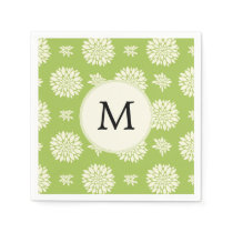 Personalized Monogram Green Ivory Floral Pattern Paper Napkin