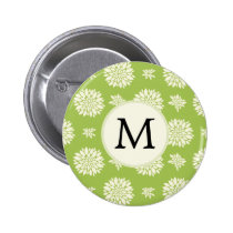 Personalized Monogram Green Ivory Floral Pattern Pinback Button