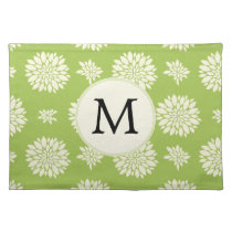 Personalized Monogram Green Ivory Floral Pattern Placemat