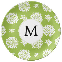 Personalized Monogram Green Ivory Floral Pattern Plate