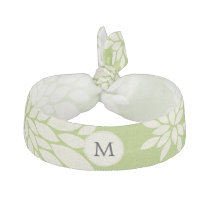 Personalized Monogram Green Ivory Floral Pattern Ribbon Hair Tie