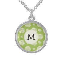 Personalized Monogram Green Ivory Floral Pattern Sterling Silver Necklace