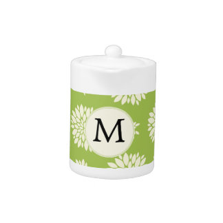 Personalized Monogram Green Ivory Floral Pattern Teapot