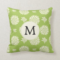 Personalized Monogram Green Ivory Floral Pattern Throw Pillow
