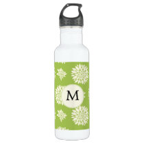 Personalized Monogram Green Ivory Floral Pattern Water Bottle