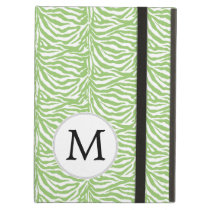 Personalized Monogram green Zebra Stripes iPad Air Cover