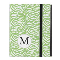 Personalized Monogram green Zebra Stripes iPad Cover
