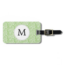 Personalized Monogram Green Zebra Stripes pattern Bag Tag
