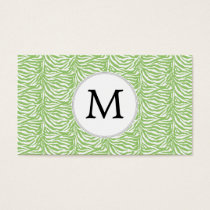 Personalized Monogram Green Zebra Stripes pattern Business Card