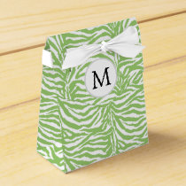 Personalized Monogram Green Zebra Stripes pattern Favor Box