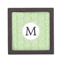 Personalized Monogram Green Zebra Stripes pattern Gift Box