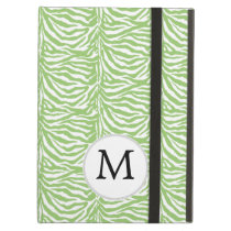Personalized Monogram Green Zebra Stripes pattern iPad Air Cover