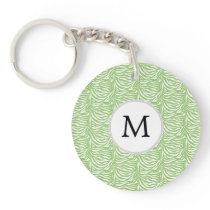 Personalized Monogram Green Zebra Stripes pattern Keychain