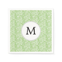 Personalized Monogram Green Zebra Stripes pattern Paper Napkin